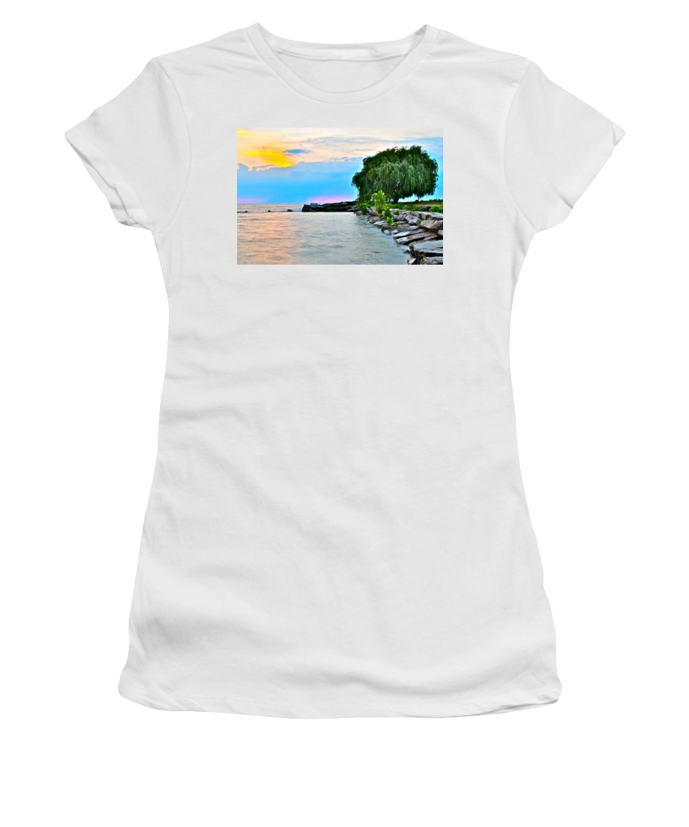 Coast Women's T-Shirt (Athletic Fit) featuring the photograph Colorful Coastline by Frozen in Time Fine Art Photography