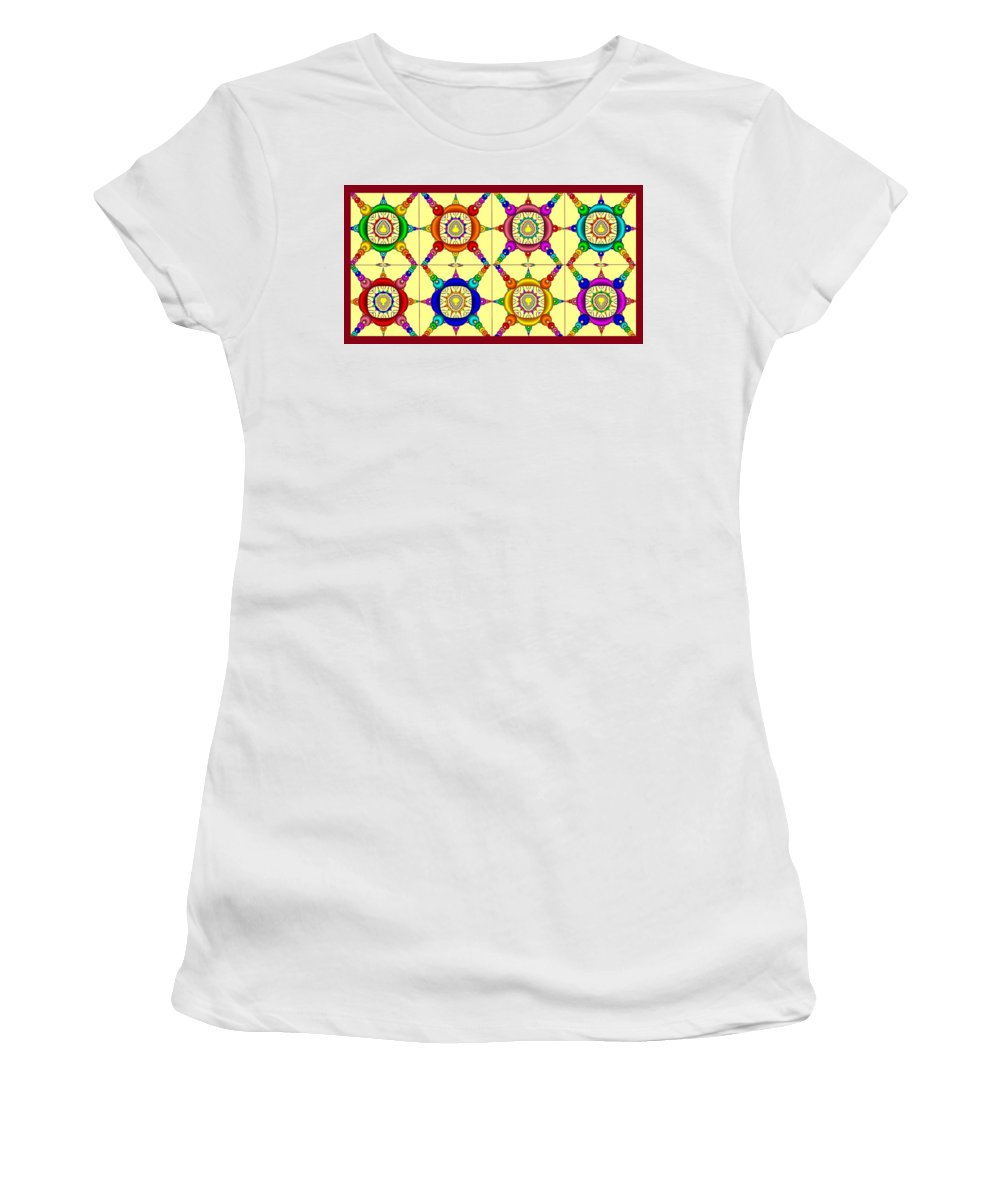 Collage Women's T-Shirt (Athletic Fit) featuring the painting Colorful Collage Of Fractals by Bruce Nutting