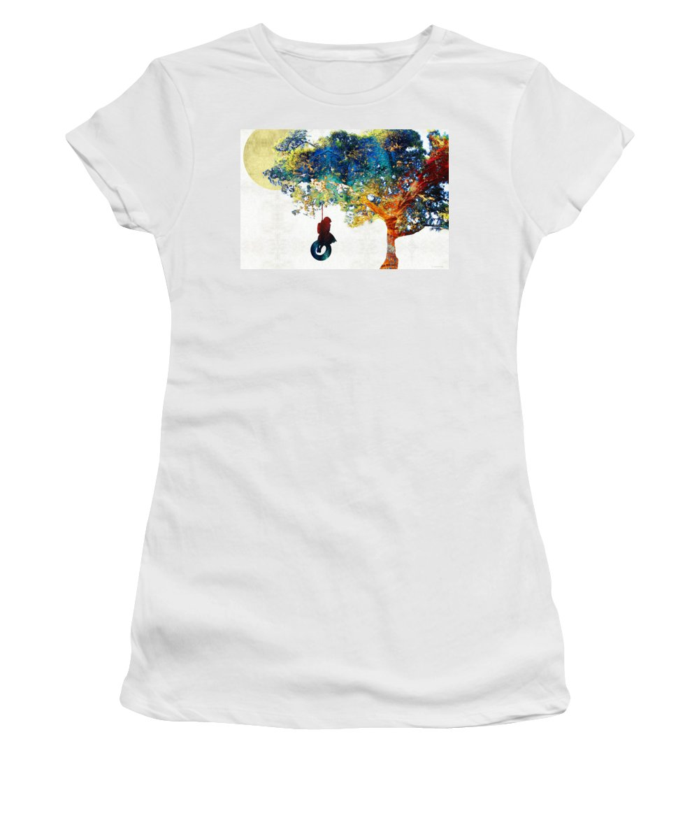 Tree Women's T-Shirt featuring the painting Colorful Landscape Art - The Dreaming Tree - By Sharon Cummings by Sharon Cummings
