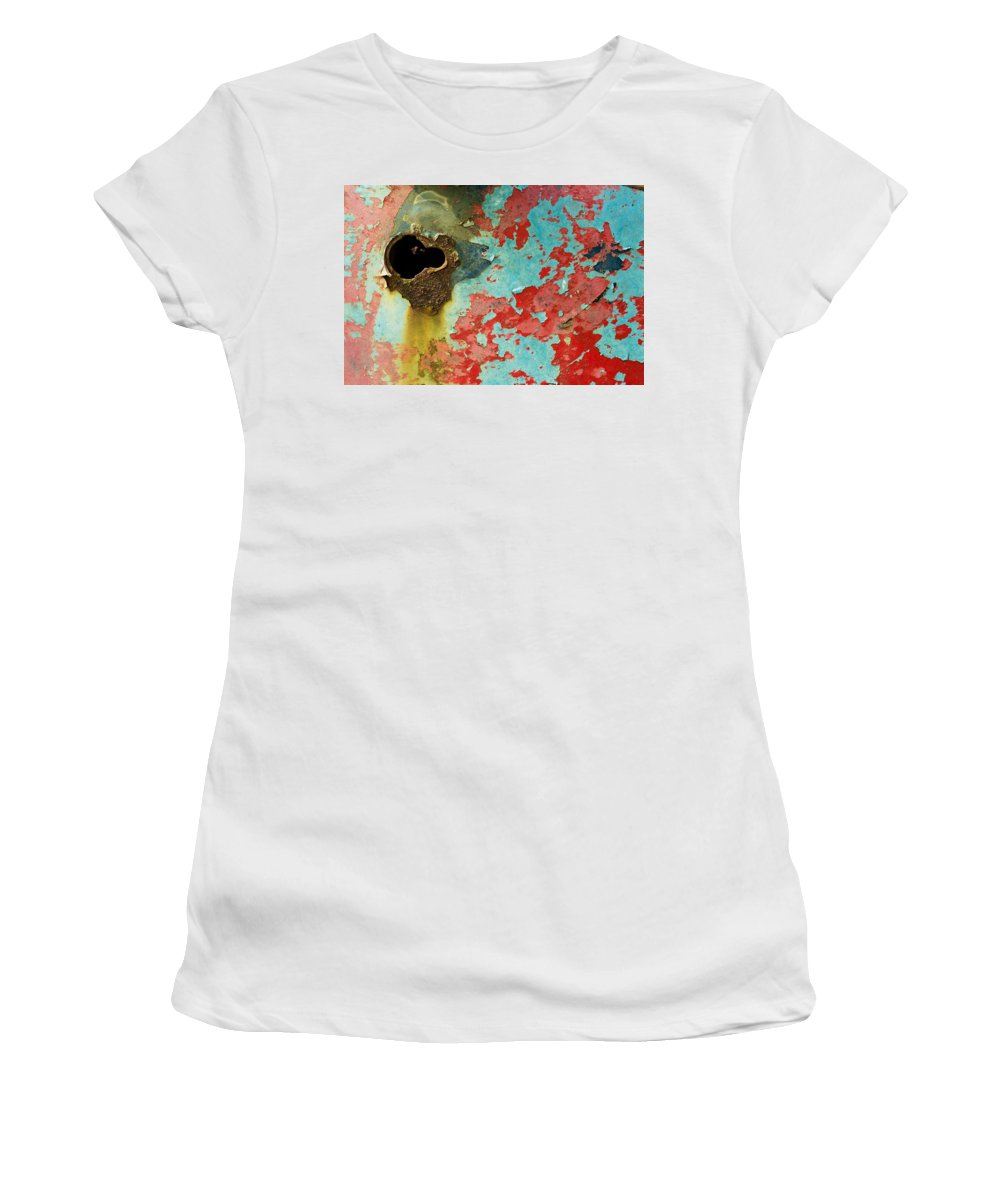 Cindy Archbell Women's T-Shirt (Athletic Fit) featuring the photograph Colorful Rusty Door by Cindy Archbell