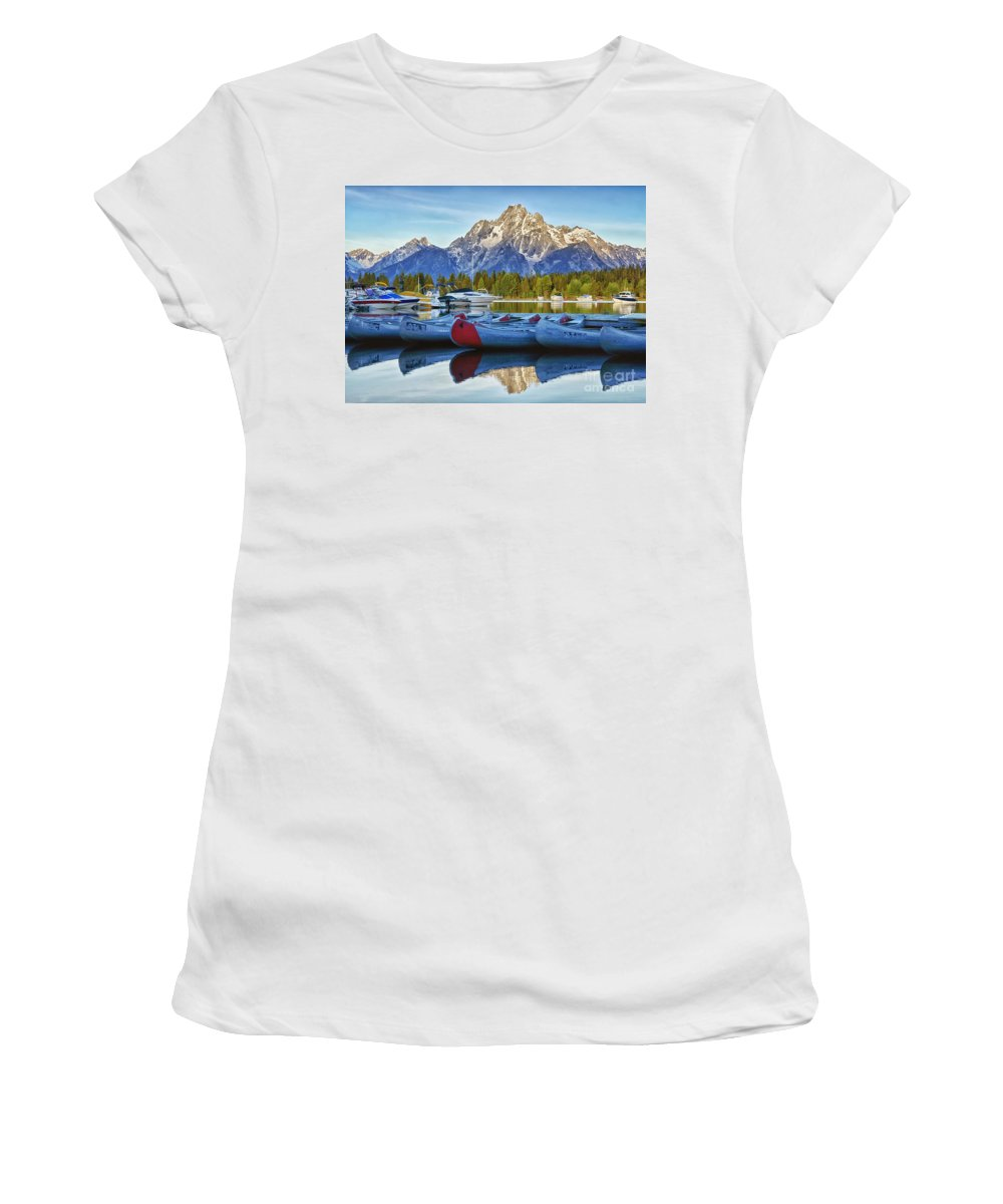 Lake Women's T-Shirt (Athletic Fit) featuring the photograph Colter Bay by Claudia Kuhn