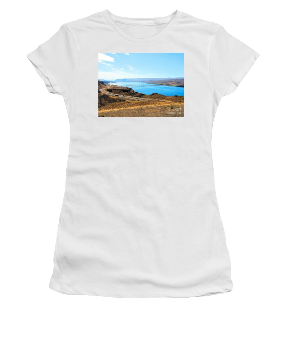Columbia River Photograph Women's T-Shirt featuring the photograph Columbia River From Overlook by Janette Boyd