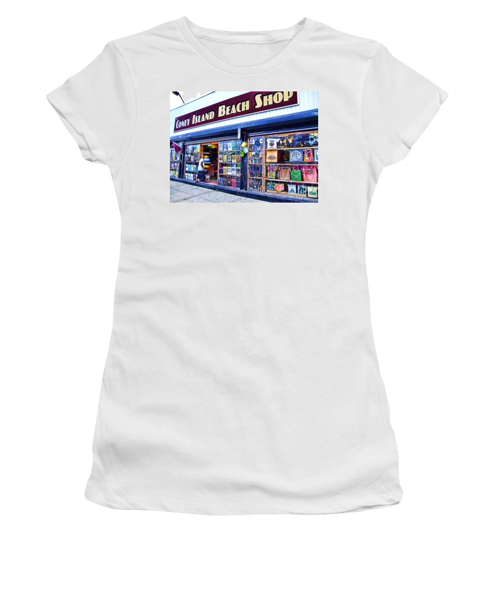 Coney Island Women's T-Shirt (Athletic Fit) featuring the photograph Coney Island Beach Shop by Nishanth Gopinathan