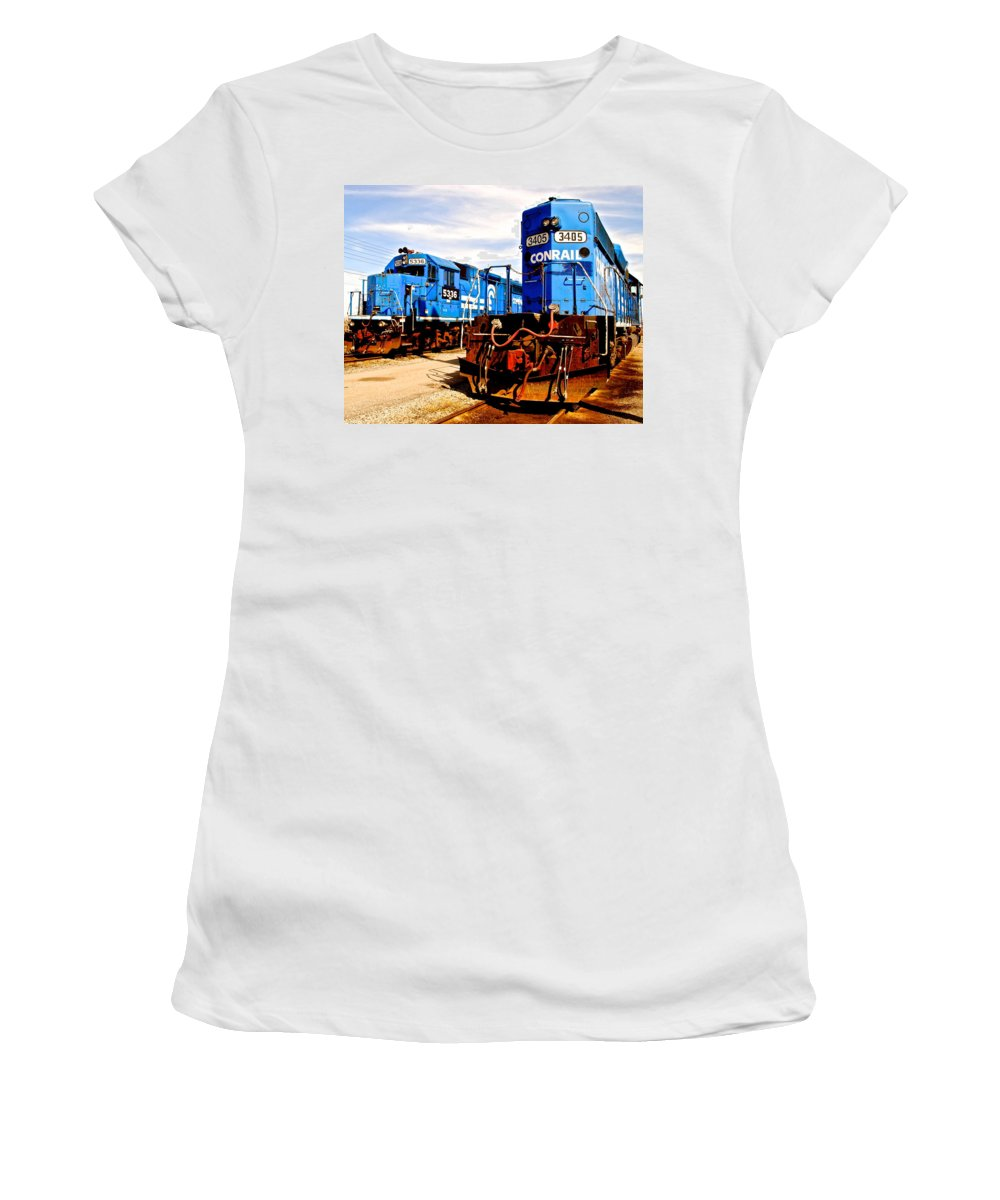 Conrail Women's T-Shirt (Athletic Fit) featuring the photograph Conrail Choo Choo by Frozen in Time Fine Art Photography