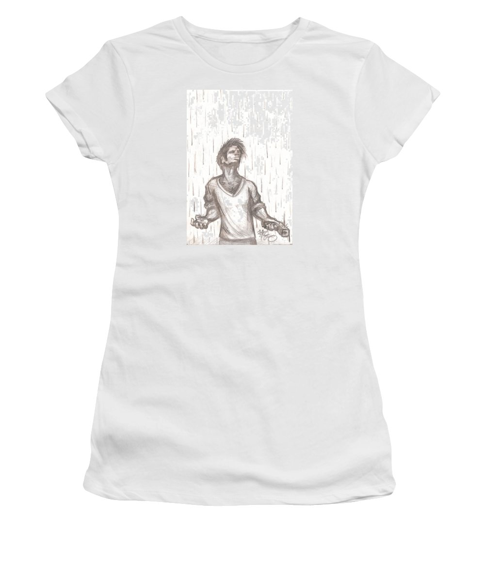 Man Women's T-Shirt (Athletic Fit) featuring the drawing Consequence by Jeffrey Oleniacz