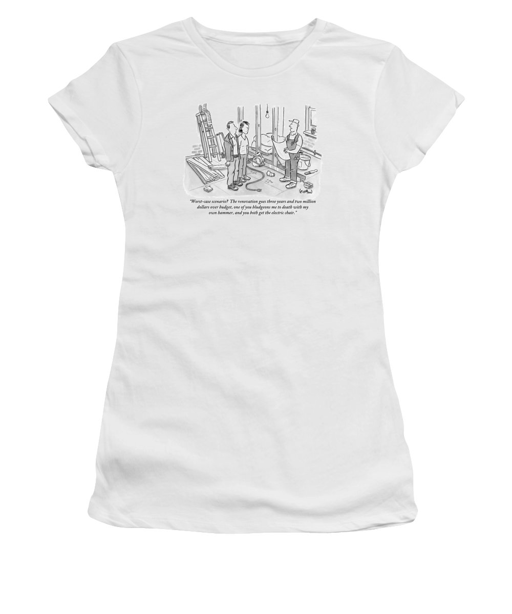 Renovation Women's T-Shirt featuring the drawing Contractor Examining A Blueprint And Speaking by Robert Leighton