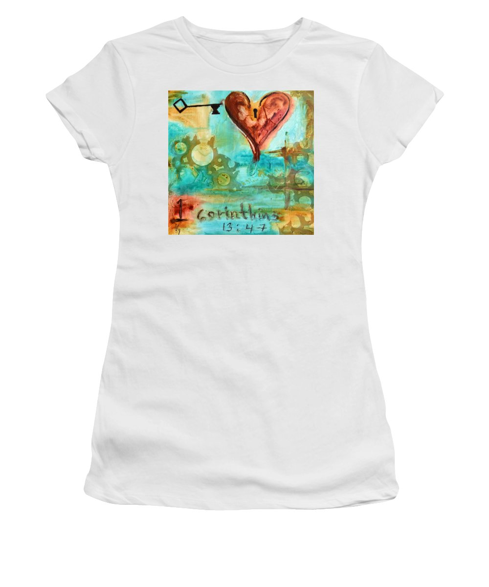 Heart Women's T-Shirt (Athletic Fit) featuring the painting 1 Corinthians 13 by Ivan Guaderrama