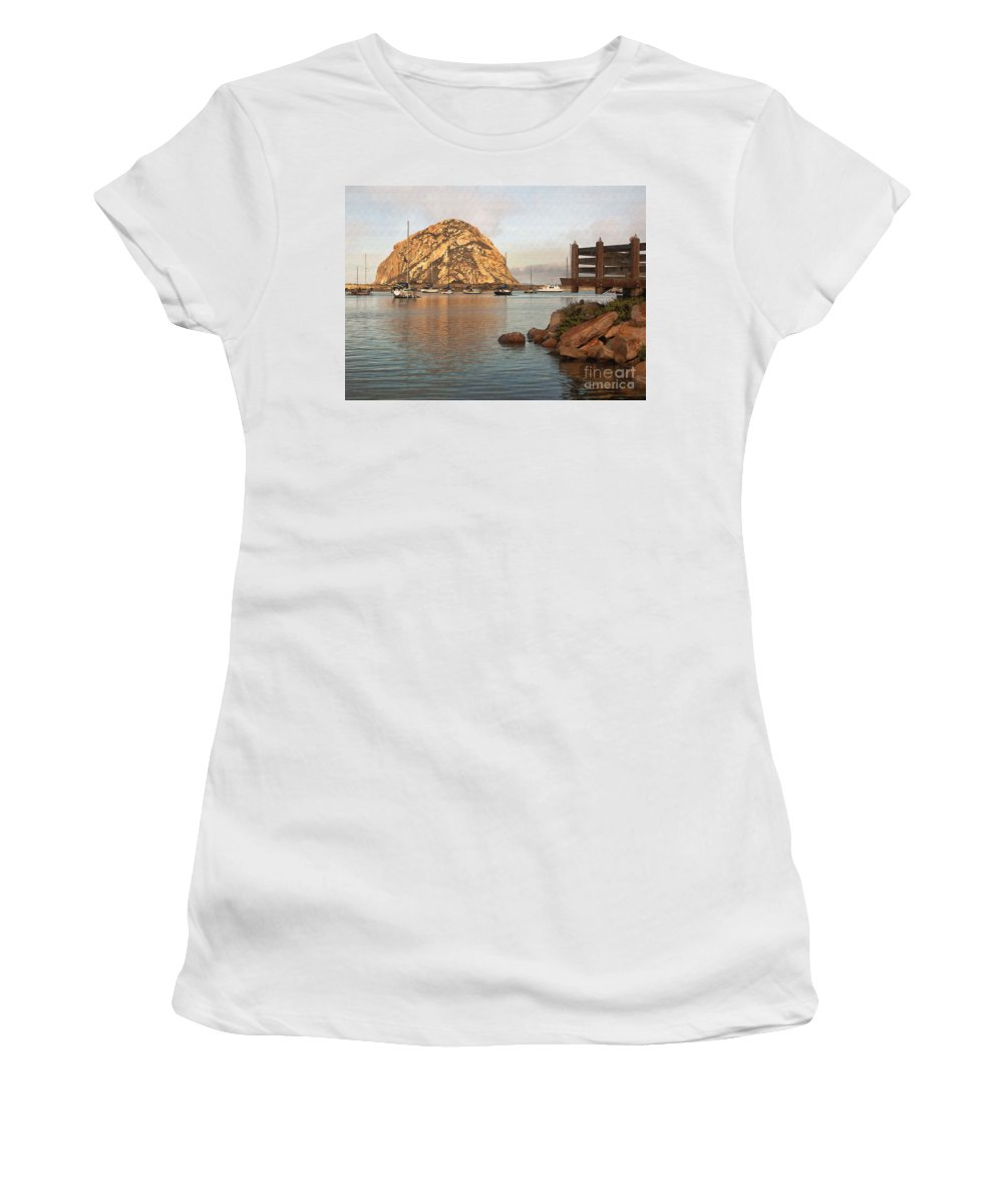 Morro Rock Women's T-Shirt (Athletic Fit) featuring the digital art Corner Harbor by Sharon Foster