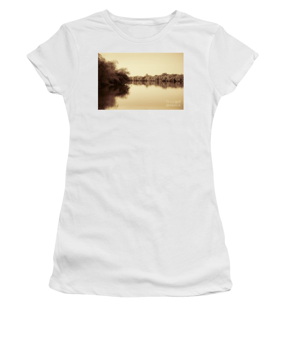 Sepia Women's T-Shirt (Athletic Fit) featuring the photograph Corroboree Billabong In Sepia by Douglas Barnard