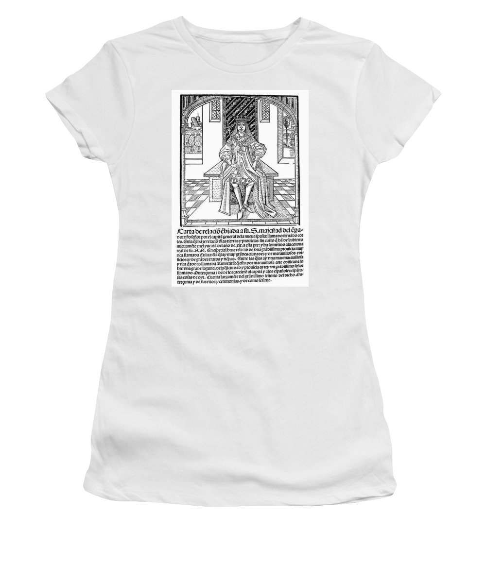 1522 Women's T-Shirt (Athletic Fit) featuring the painting Cortes Letter, 1522 by Granger