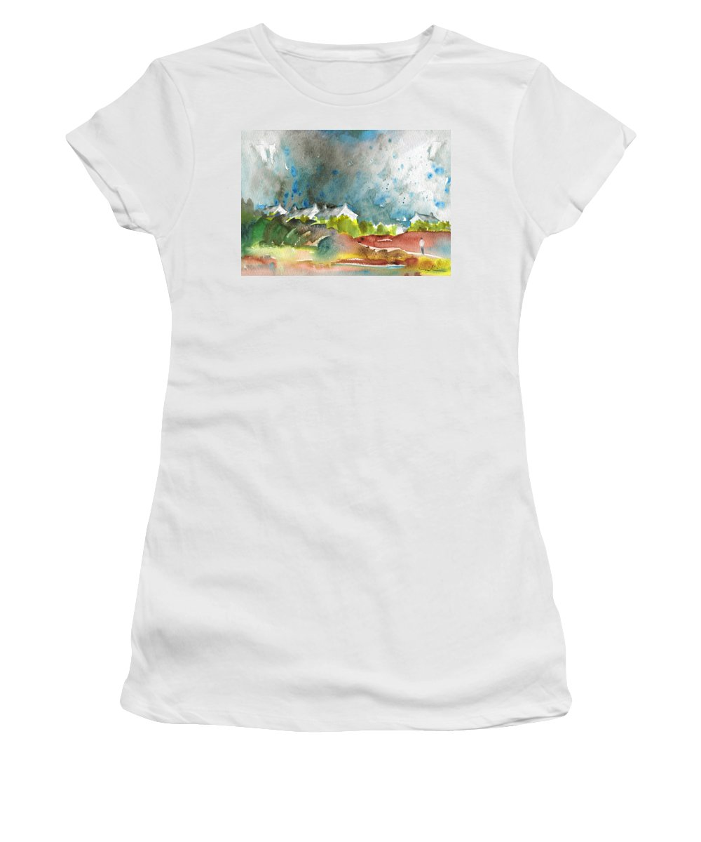 Travel Women's T-Shirt featuring the painting Cottages In Brittany by Miki De Goodaboom
