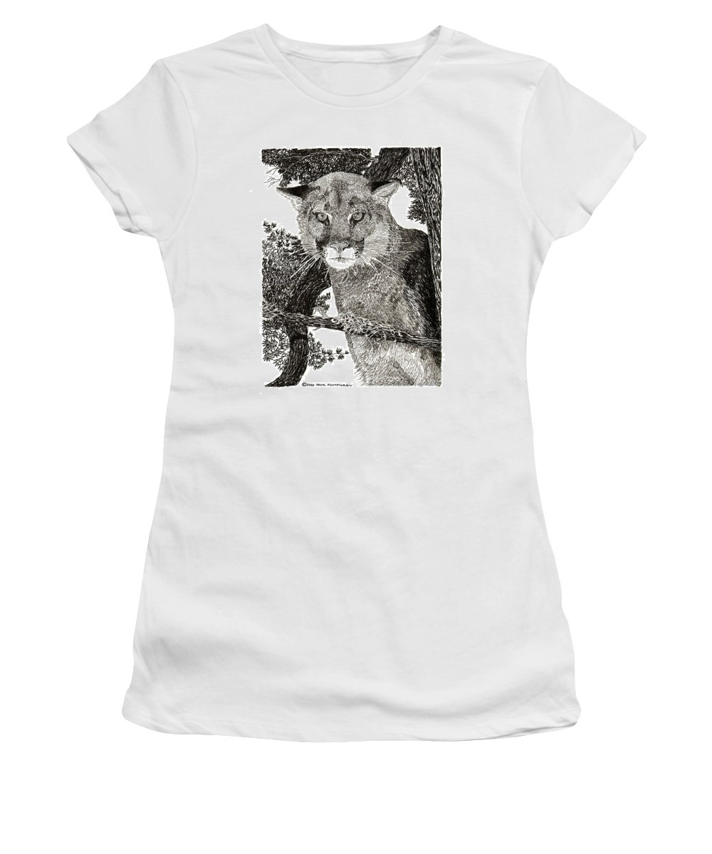 Framed Art Of Wild Animals. Framed Pen And Ink Art Of Mountain Lions. Framed Art Of Cougars.animal Art. Inked Animal Art. Art In The Wild. Women's T-Shirt (Athletic Fit) featuring the drawing Cougar From Colorado by Jack Pumphrey