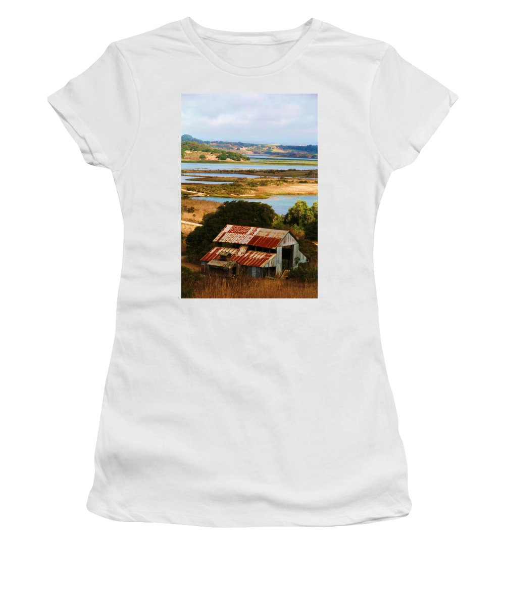 Moss Landing Barn Women's T-Shirt featuring the photograph Country Side by Marianne Jimenez