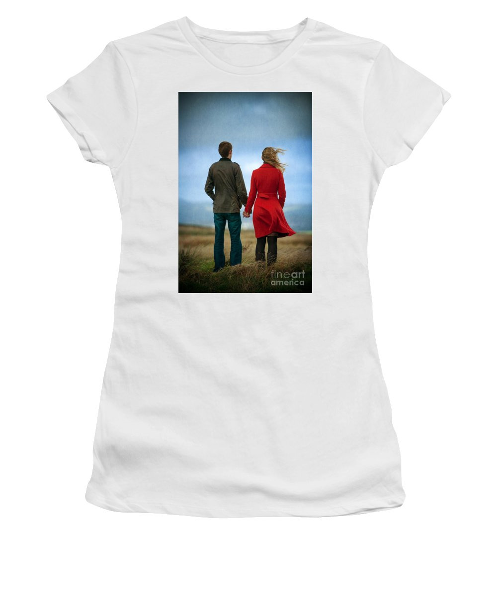 Couple Women's T-Shirt (Athletic Fit) featuring the photograph Couple Standing On Windy Moorland by Lee Avison