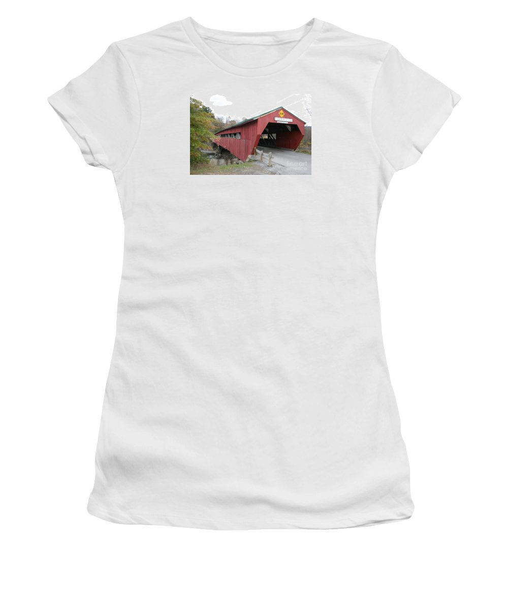 Covered Bridge Women's T-Shirt featuring the photograph Covered Bridge Taftsville by Christiane Schulze Art And Photography
