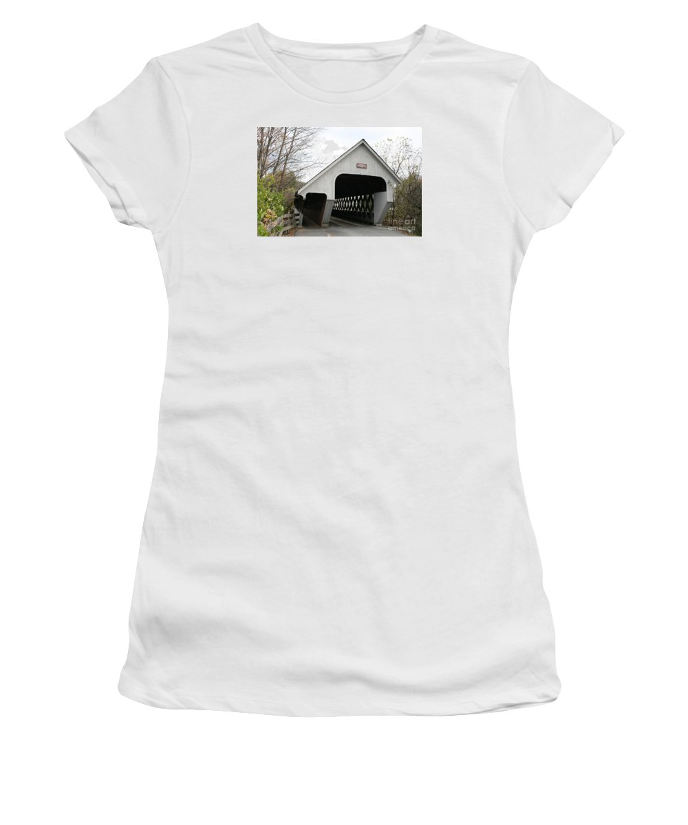 Covered Bridge Women's T-Shirt featuring the photograph Covered Bridge - Woodstock by Christiane Schulze Art And Photography