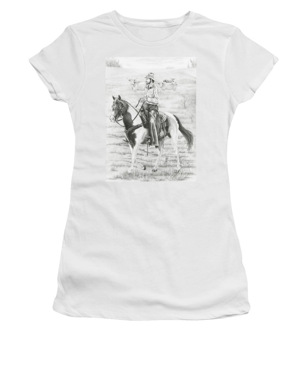 Cowboy Women's T-Shirt featuring the drawing Cowboy And Horse No Fences by Murphy Elliott