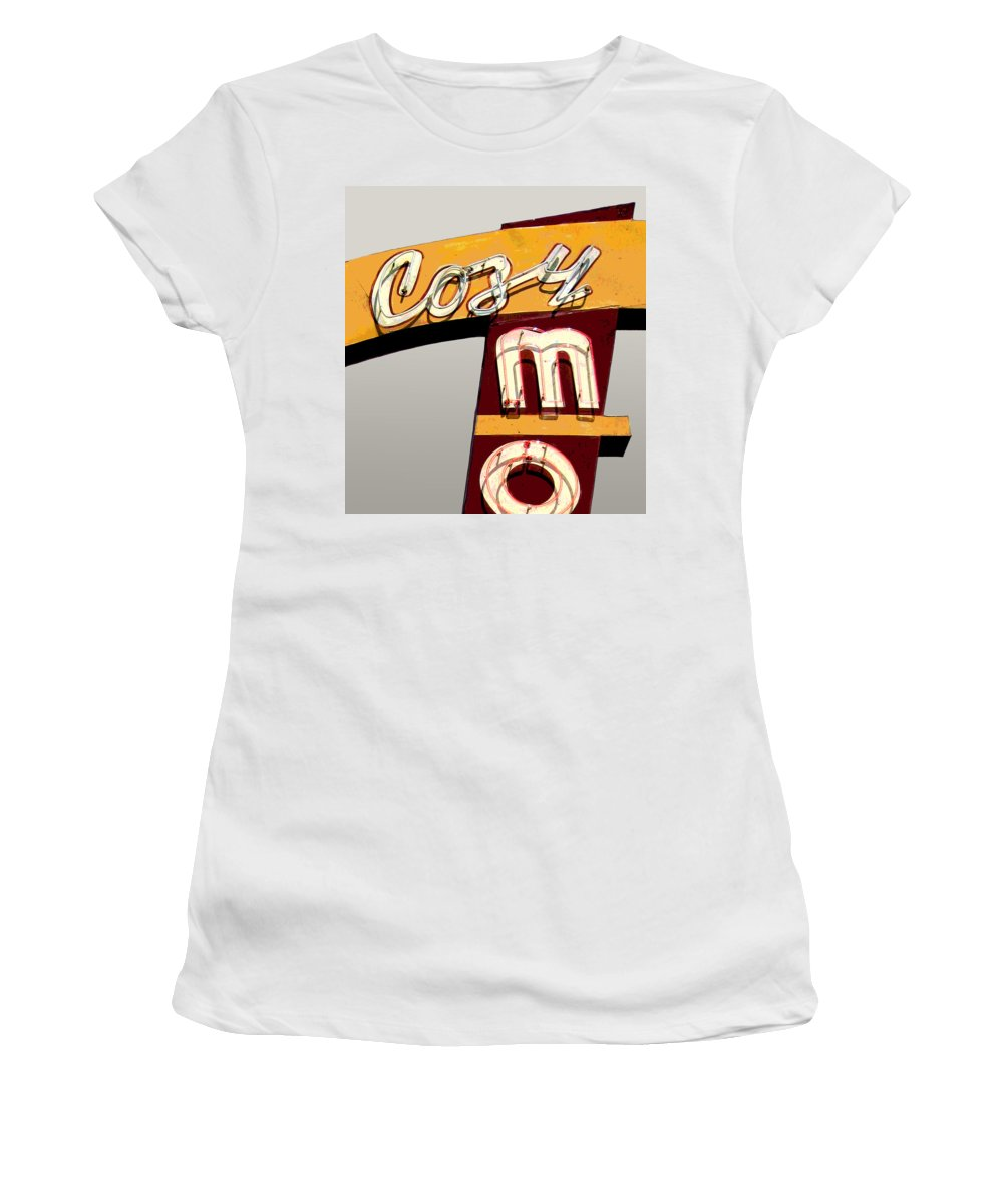 Mid Century Women's T-Shirt featuring the photograph Cozy Mo - Gray by Larry Hunter