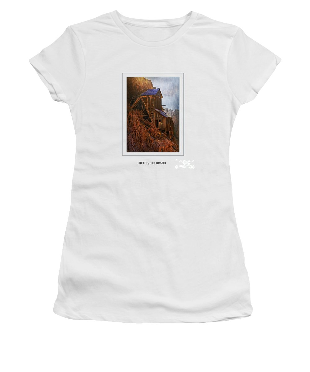 Creede Women's T-Shirt featuring the photograph Creede Colorado Mine Building by Priscilla Burgers