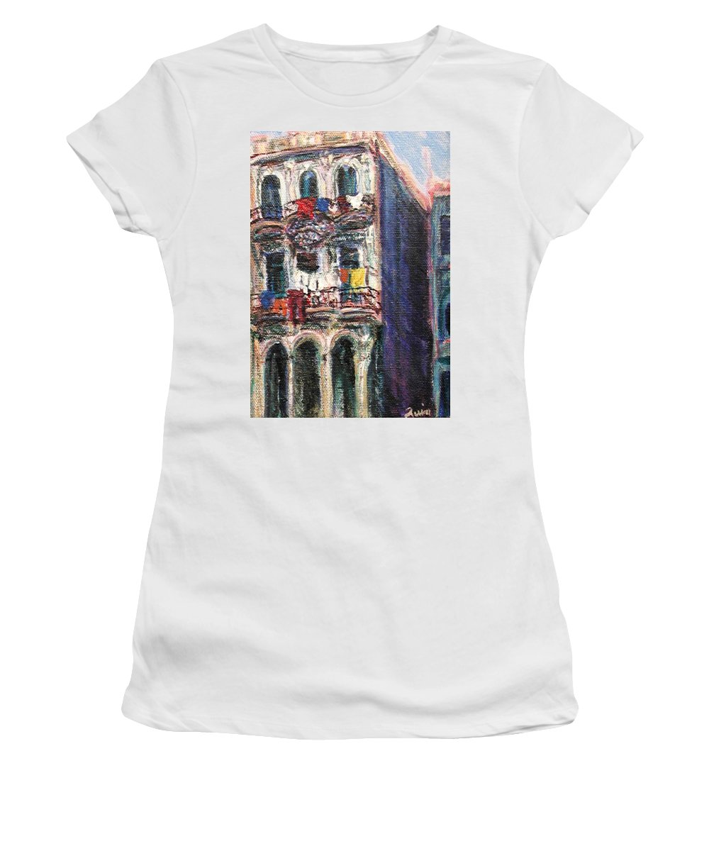 Cities Women's T-Shirt featuring the painting Cuba Edificios by Quin Sweetman