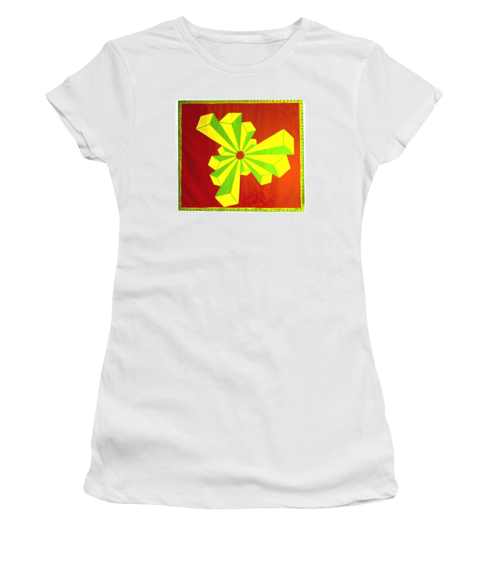 Cubism Women's T-Shirt (Athletic Fit) featuring the painting Cubism In Wheat-shire by MERLIN Vernon