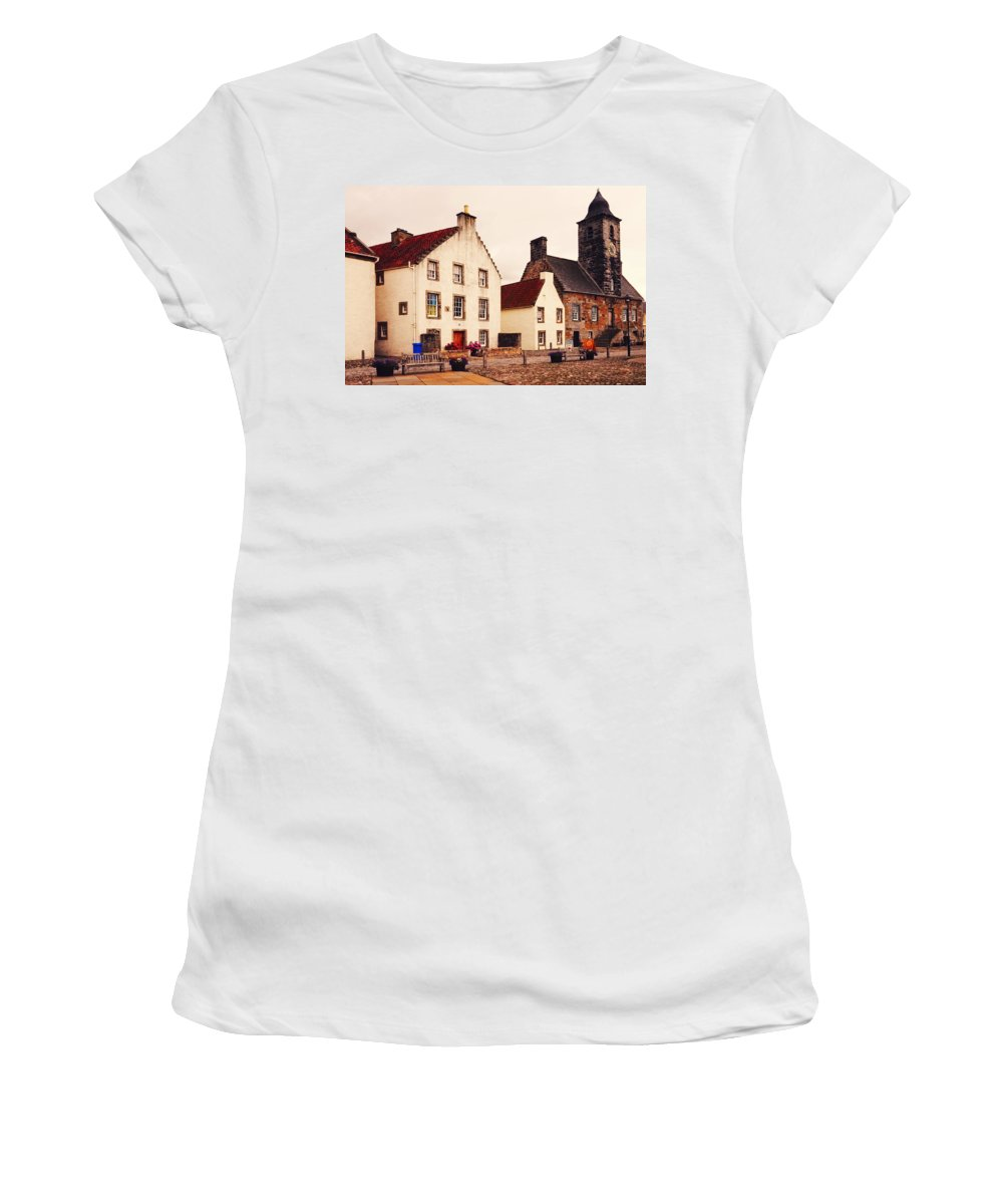 Scotland Women's T-Shirt (Athletic Fit) featuring the photograph Culross Sketches 3. Scotland by Jenny Rainbow