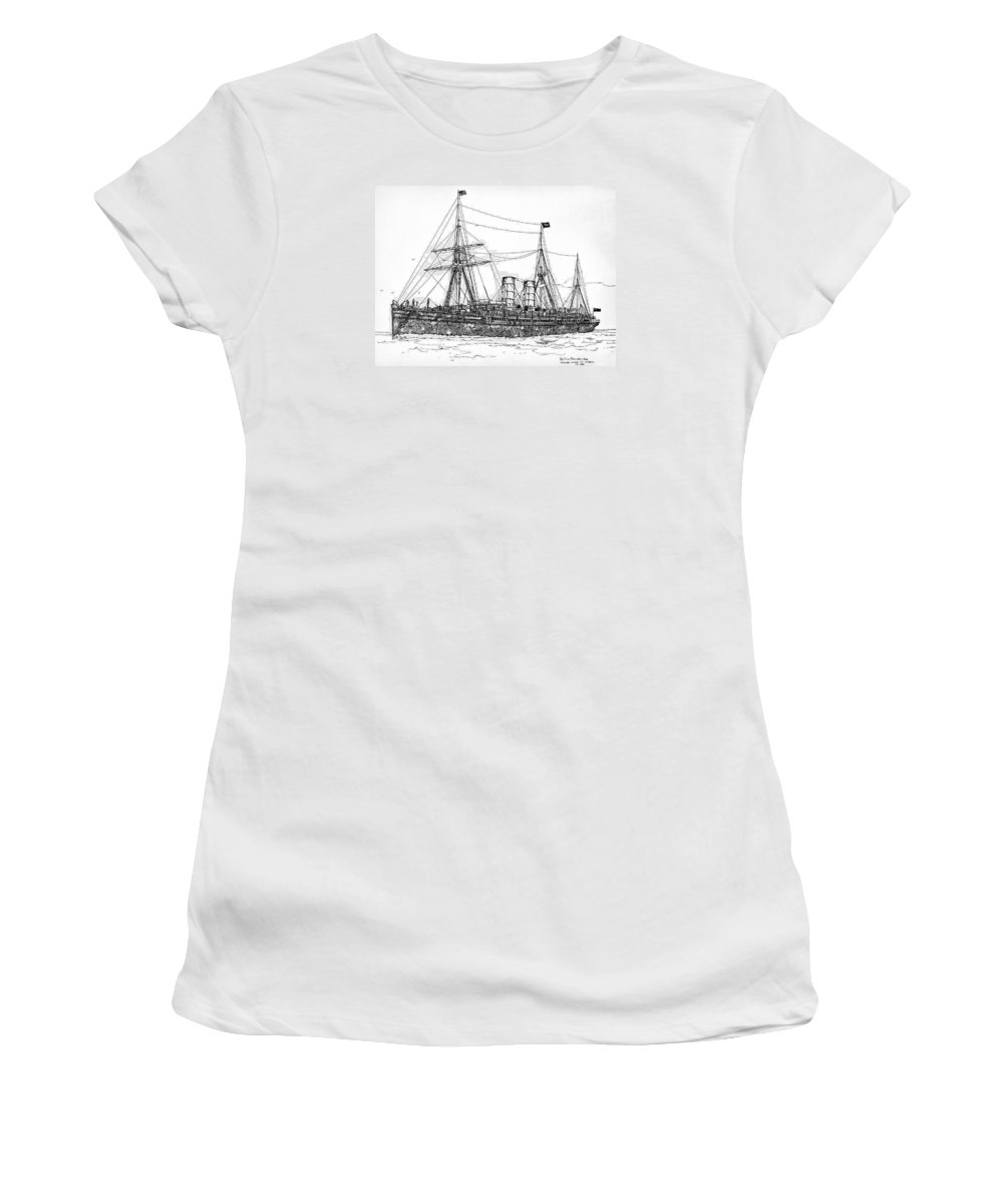 Rms Umbria Women's T-Shirt featuring the drawing Cunard Liner Umbria 1880's by Ira Shander