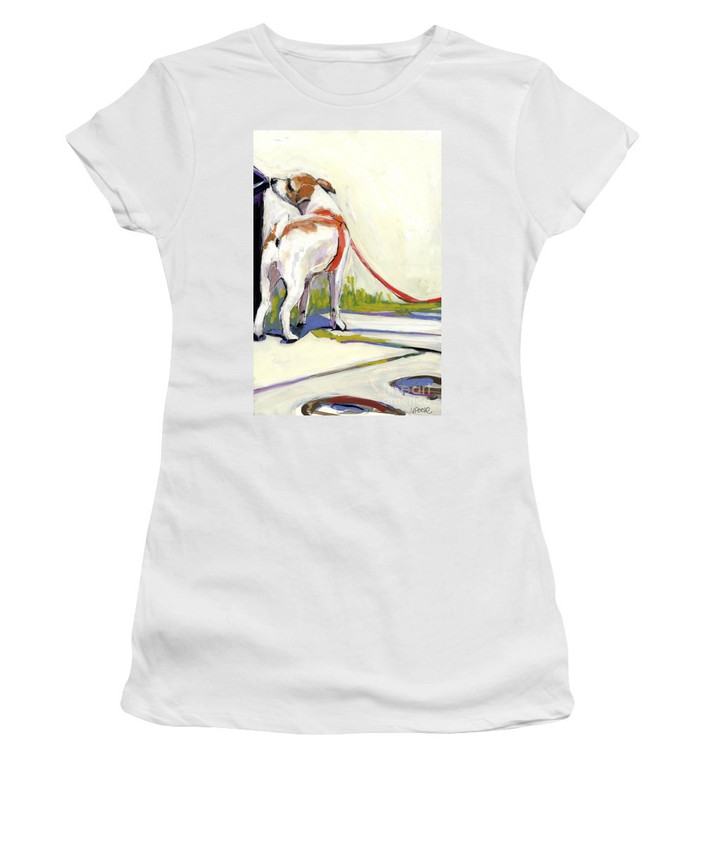 Dog Women's T-Shirt featuring the painting Curbside by Molly Poole
