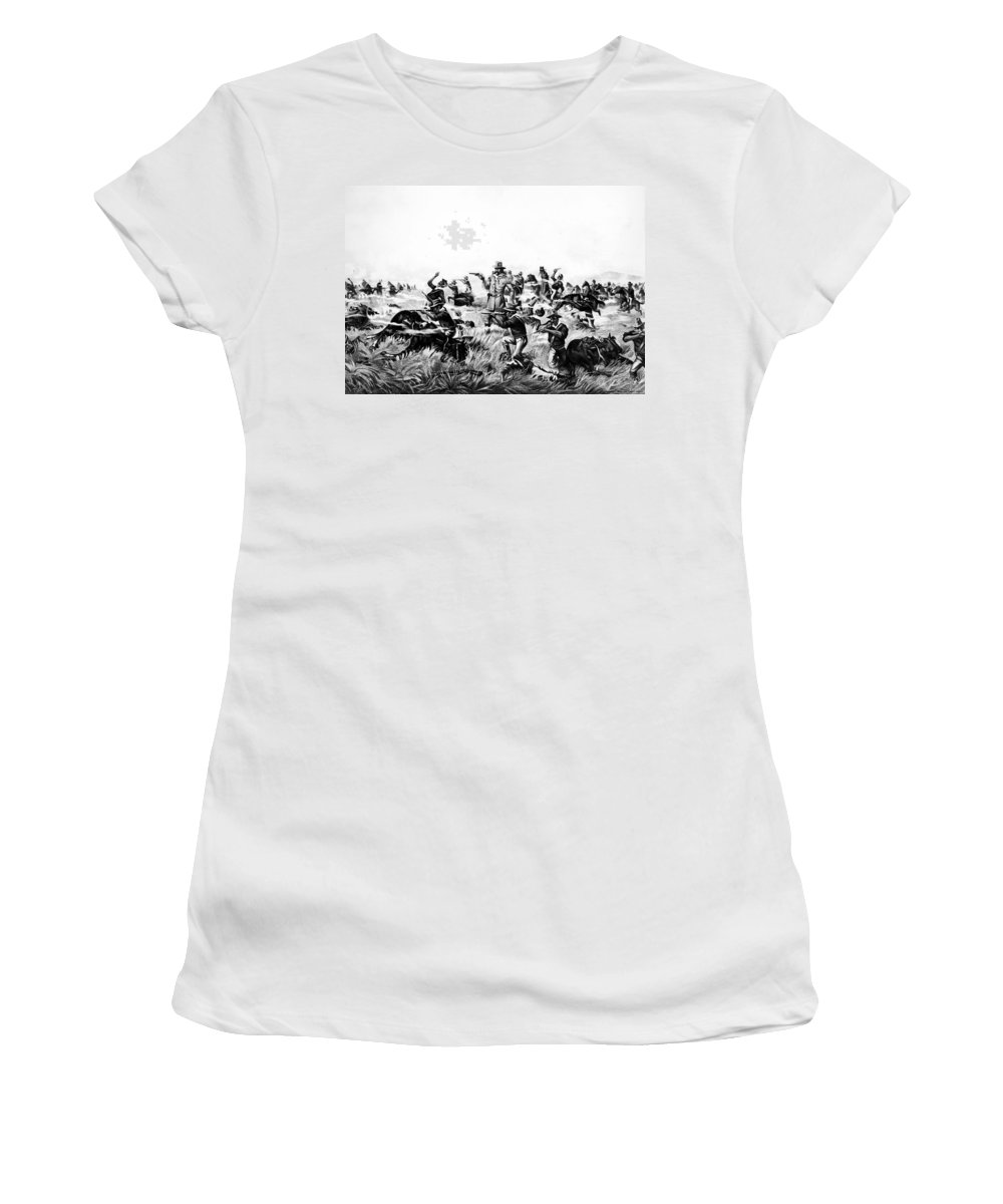 1876 Women's T-Shirt (Athletic Fit) featuring the painting Custer's Last Fight, 1876 by Granger