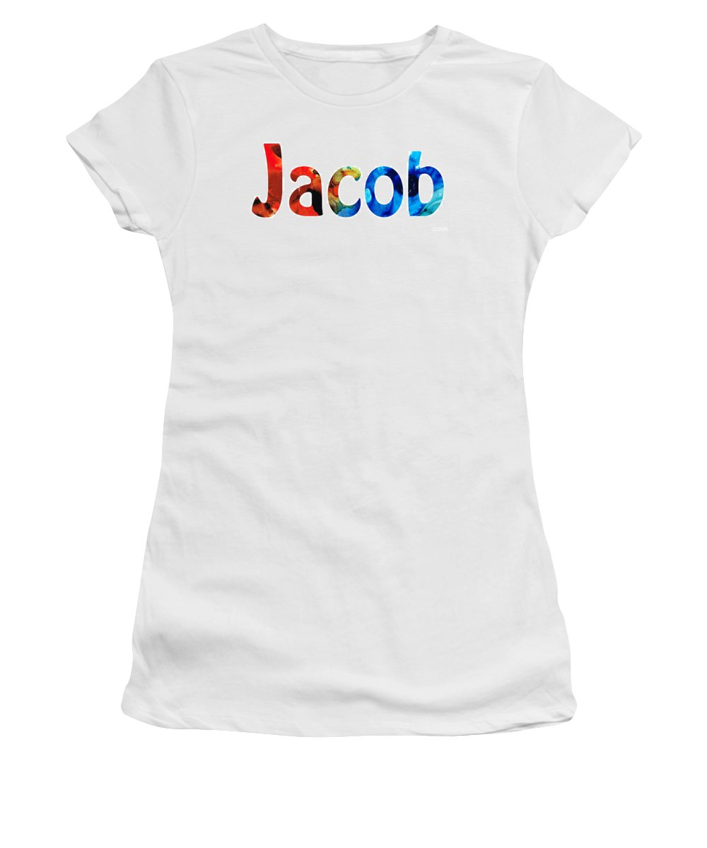 Baby Names Women's T-Shirt featuring the painting Customized Baby Kids Adults Pets Names - Jacob 5 Name by Sharon Cummings