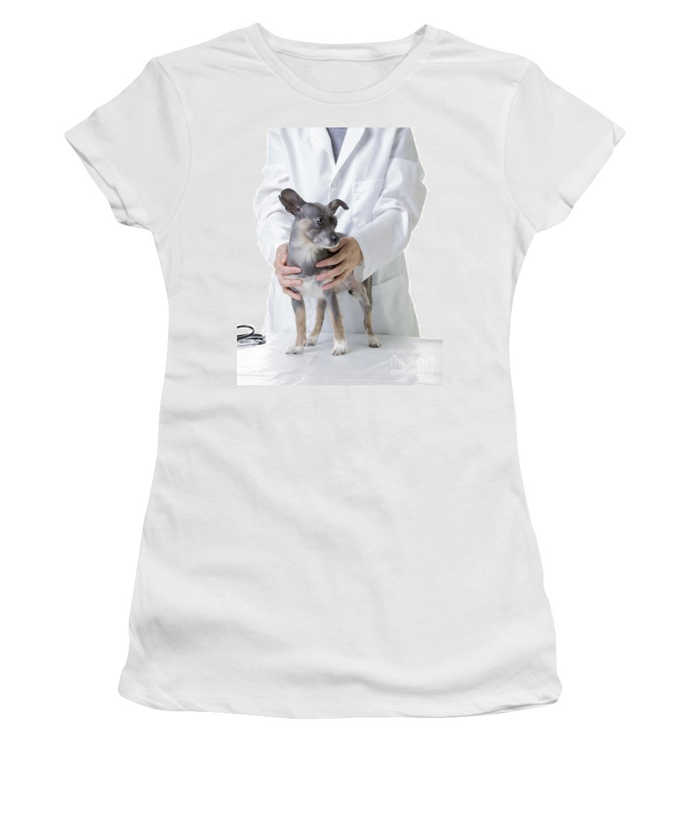 Dog Women's T-Shirt featuring the photograph Cute Little Dog At The Vet by Edward Fielding