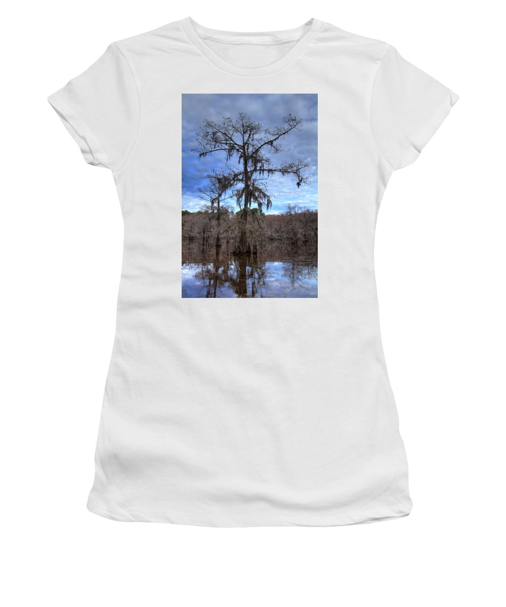 Caddo Lake Women's T-Shirt (Athletic Fit) featuring the photograph Cypress Tree by Jonathan Davison