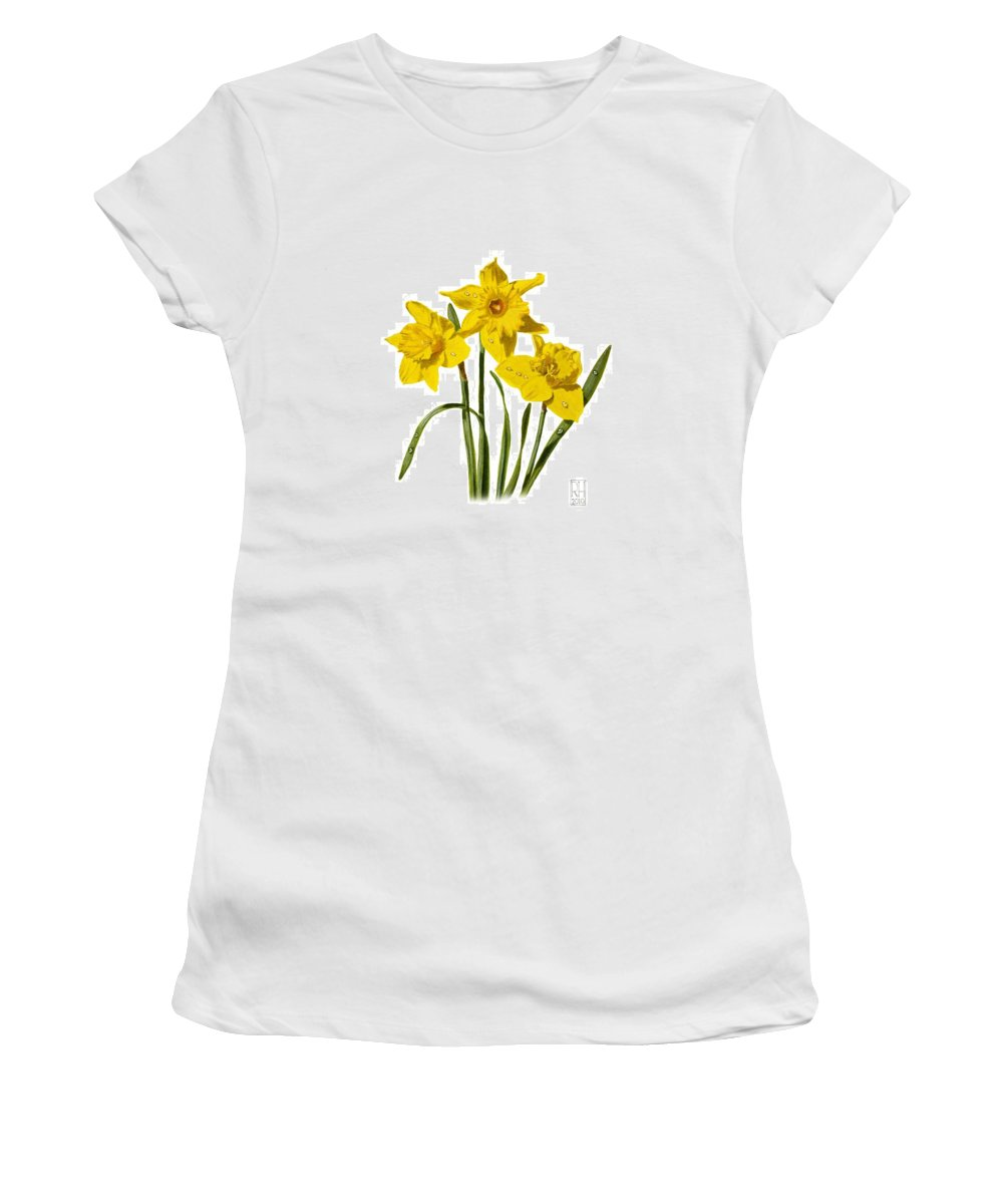 Daffodil Women's T-Shirt (Athletic Fit) featuring the painting Daffodils by Richard Harpum