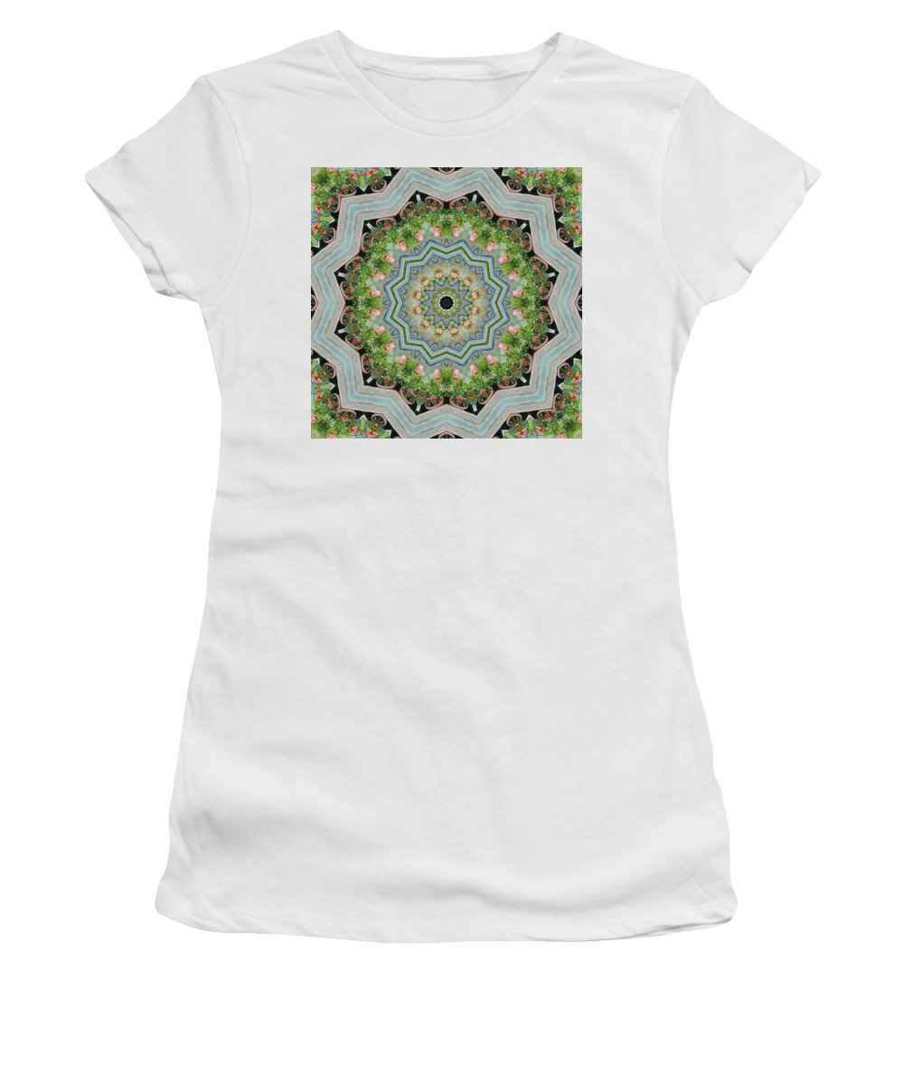 Mandevilla Sanderi Women's T-Shirt (Athletic Fit) featuring the photograph Dancing Mandevilla Blossom Kaleidoscope by Kathy Clark
