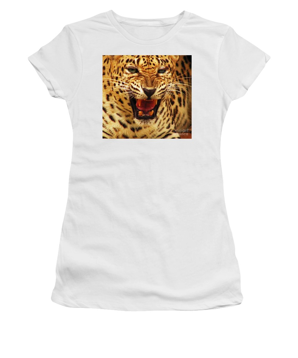 Tiger Women's T-Shirt (Athletic Fit) featuring the photograph Dangerous Teeth by Ben Yassa