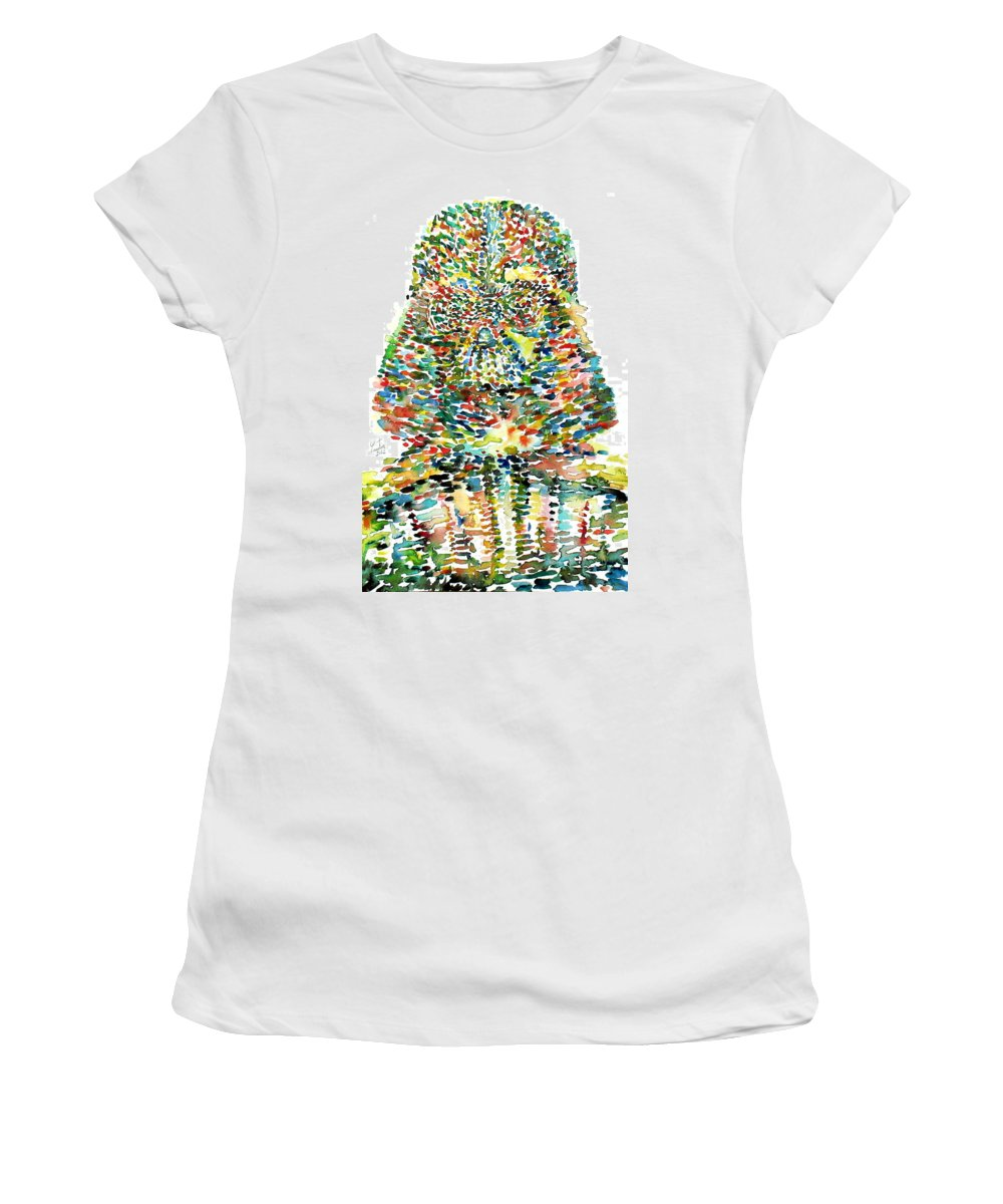 Darth Women's T-Shirt featuring the painting Darth Vader Watercolor Portrait.1 by Fabrizio Cassetta