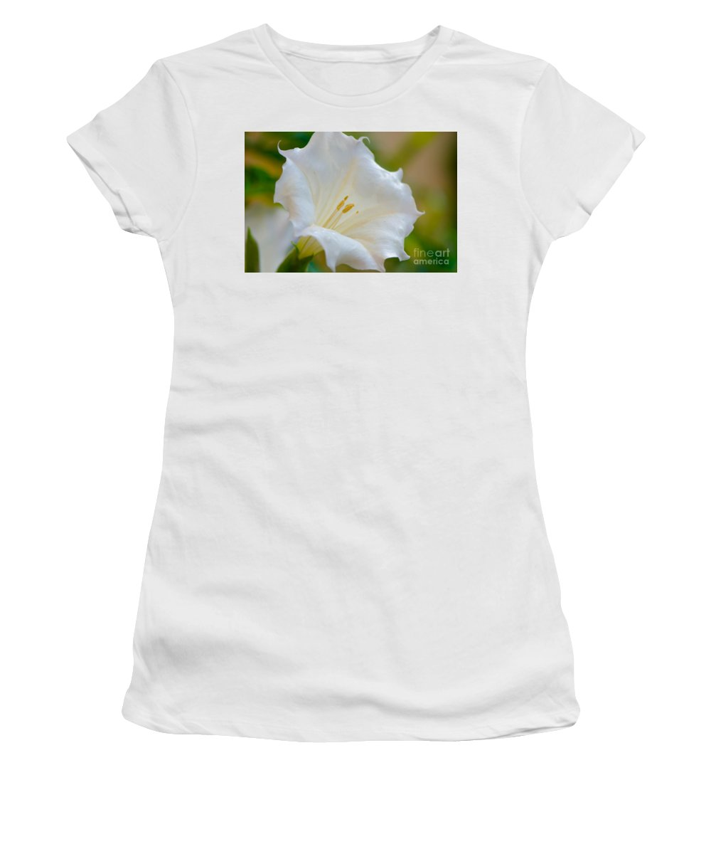 Datura Women's T-Shirt (Athletic Fit) featuring the photograph Datura Hybrid White Flower by Michael Moriarty