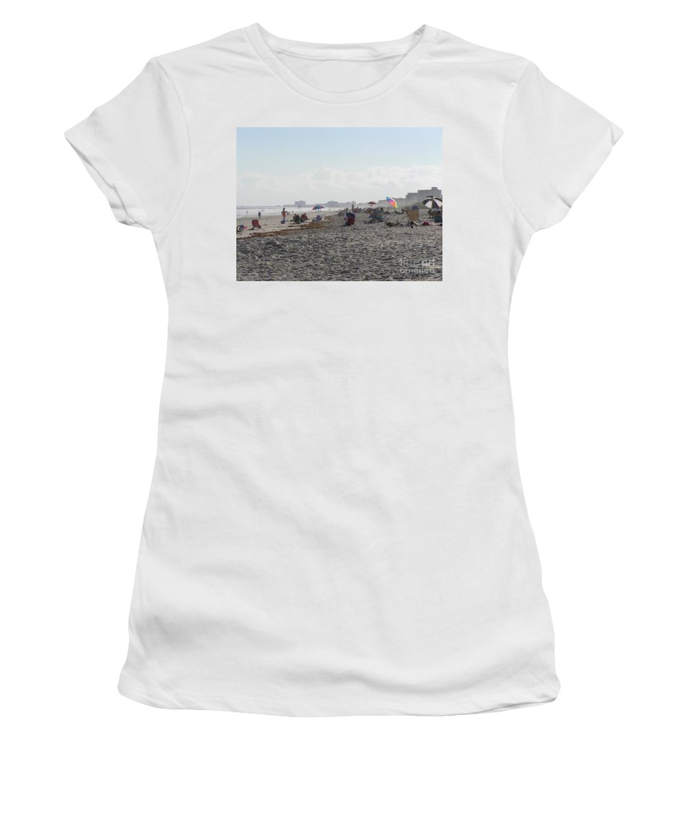 Sea Women's T-Shirt (Athletic Fit) featuring the photograph Day At The Beach by Donna Spencer