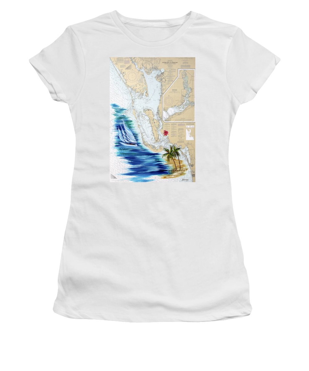 Map Women's T-Shirt (Athletic Fit) featuring the painting Day Dreaming by Christine Baeza