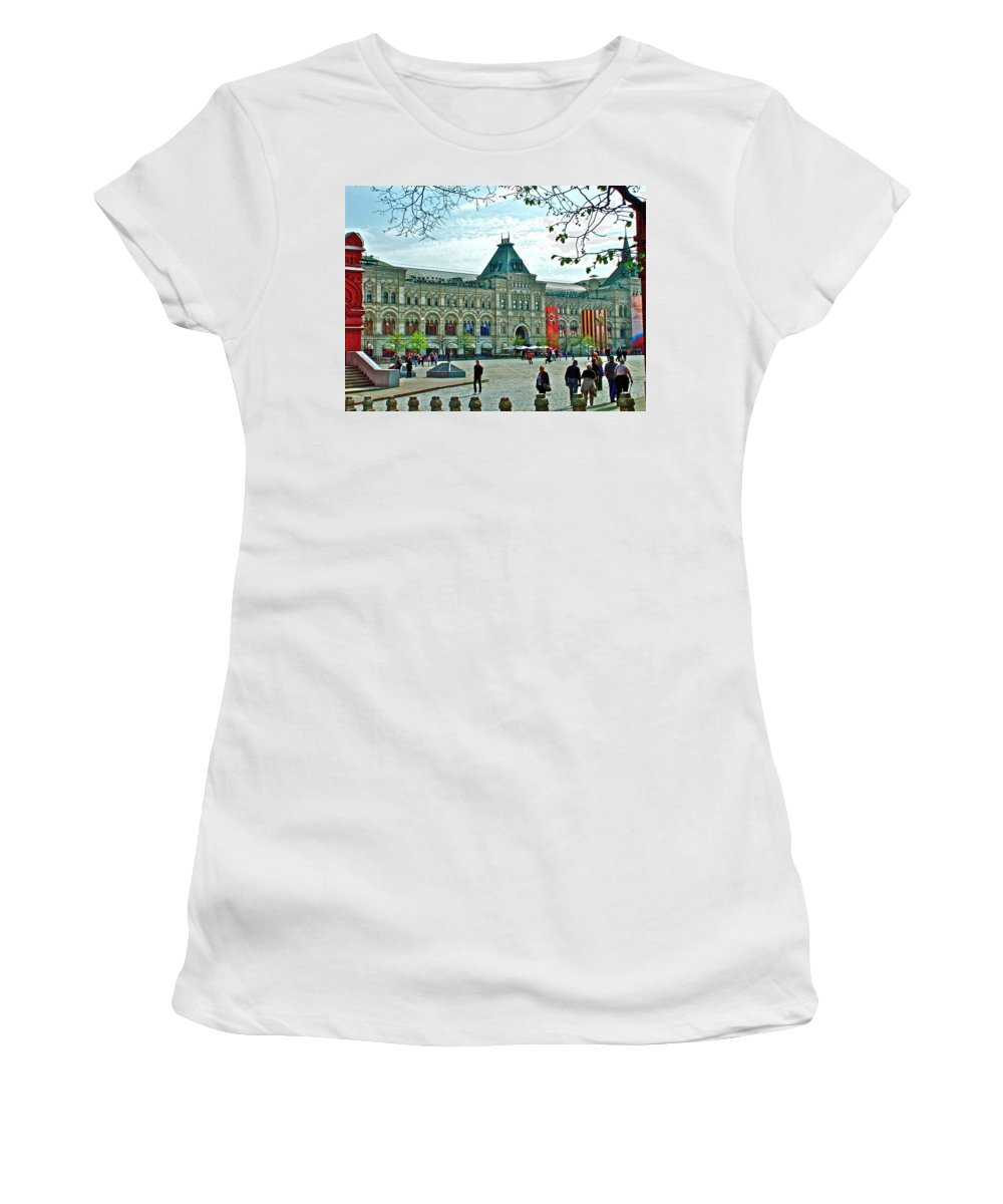 Daytime View Of Gum Women's T-Shirt (Athletic Fit) featuring the photograph Daytime View Of Gum-former State Department Store-in Red Square In Moscow-russia by Ruth Hager