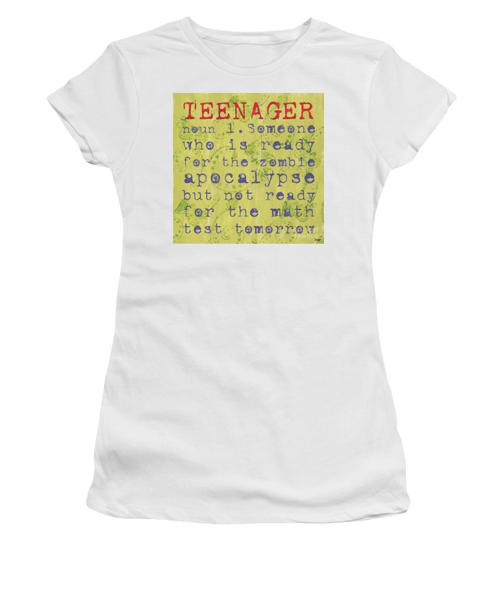 Teenager Women's T-Shirt (Athletic Fit) featuring the painting Definition Of Teenagers by Debbie DeWitt