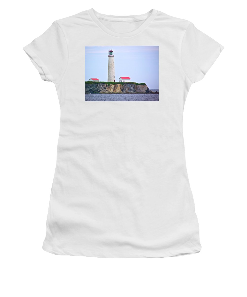 Des-rosiers Lighthouse Women's T-Shirt (Athletic Fit) featuring the photograph Des-rosiers Lighthouse Is Canada's Tallest In Forillon Np-qc by Ruth Hager