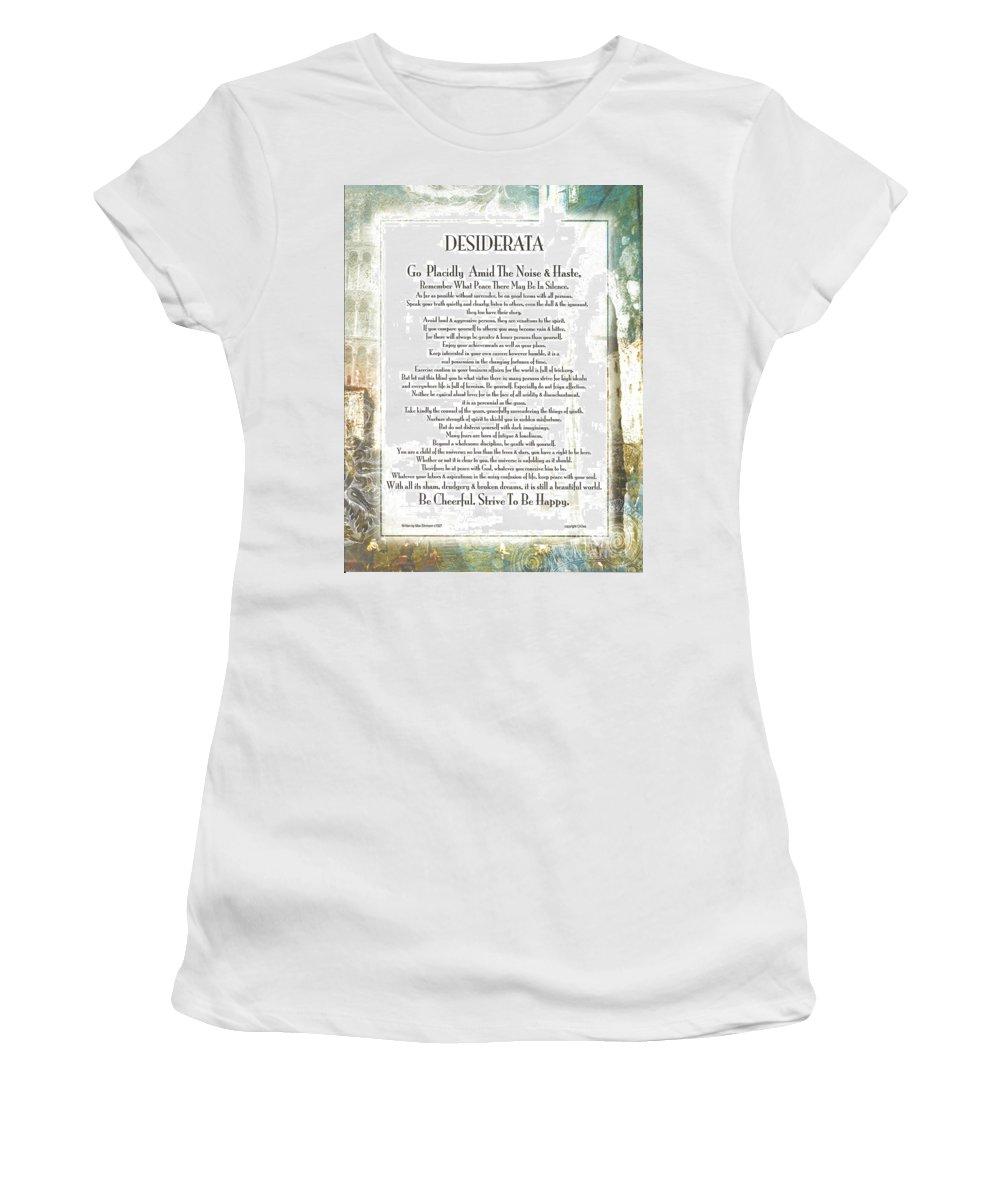 Desiderata Women's T-Shirt featuring the mixed media Desiderata On The Piazza by Desiderata Gallery