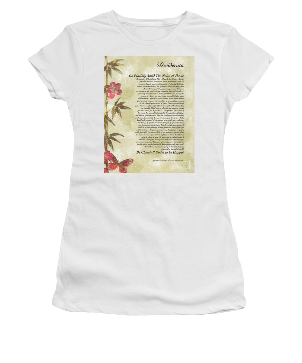 Desiderata Women's T-Shirt featuring the mixed media Desiderata Poem With Bamboo And Butterflies by Desiderata Gallery