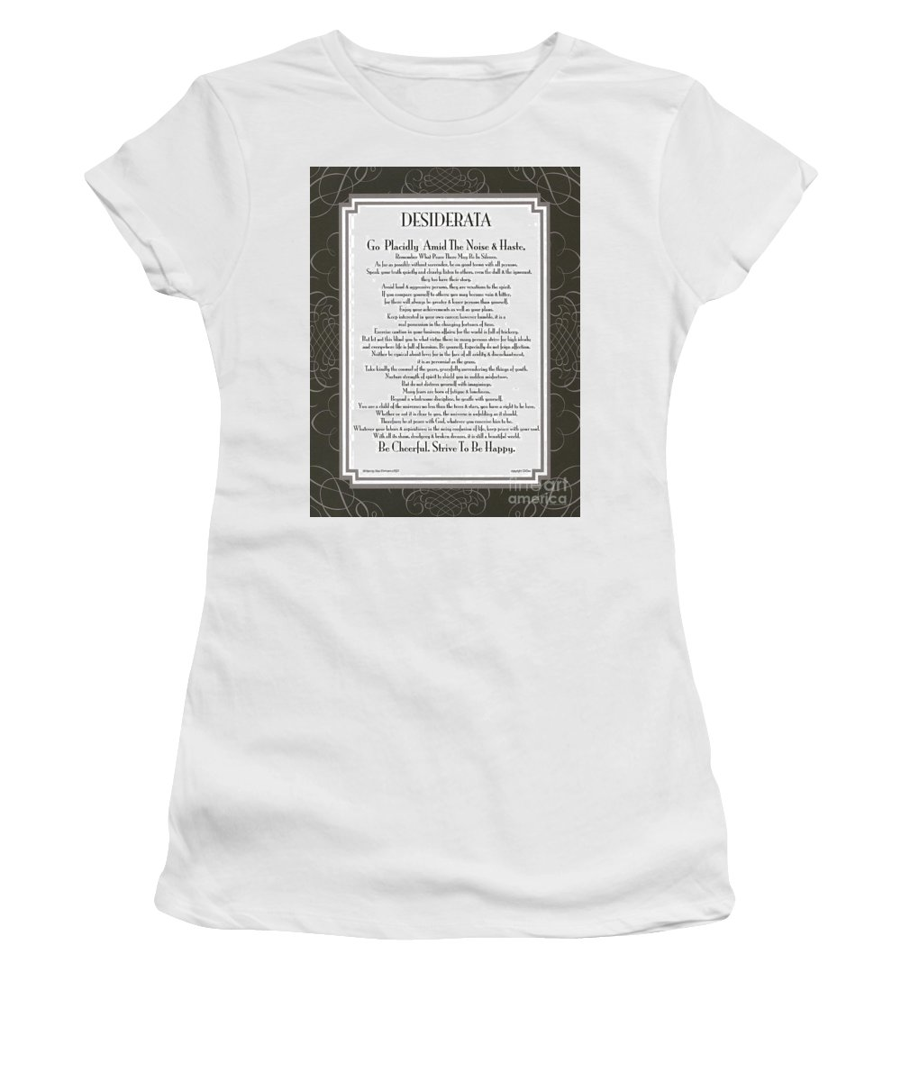 Desiderata Women's T-Shirt (Athletic Fit) featuring the mixed media Desiderata Squared Swirls by Desiderata Gallery