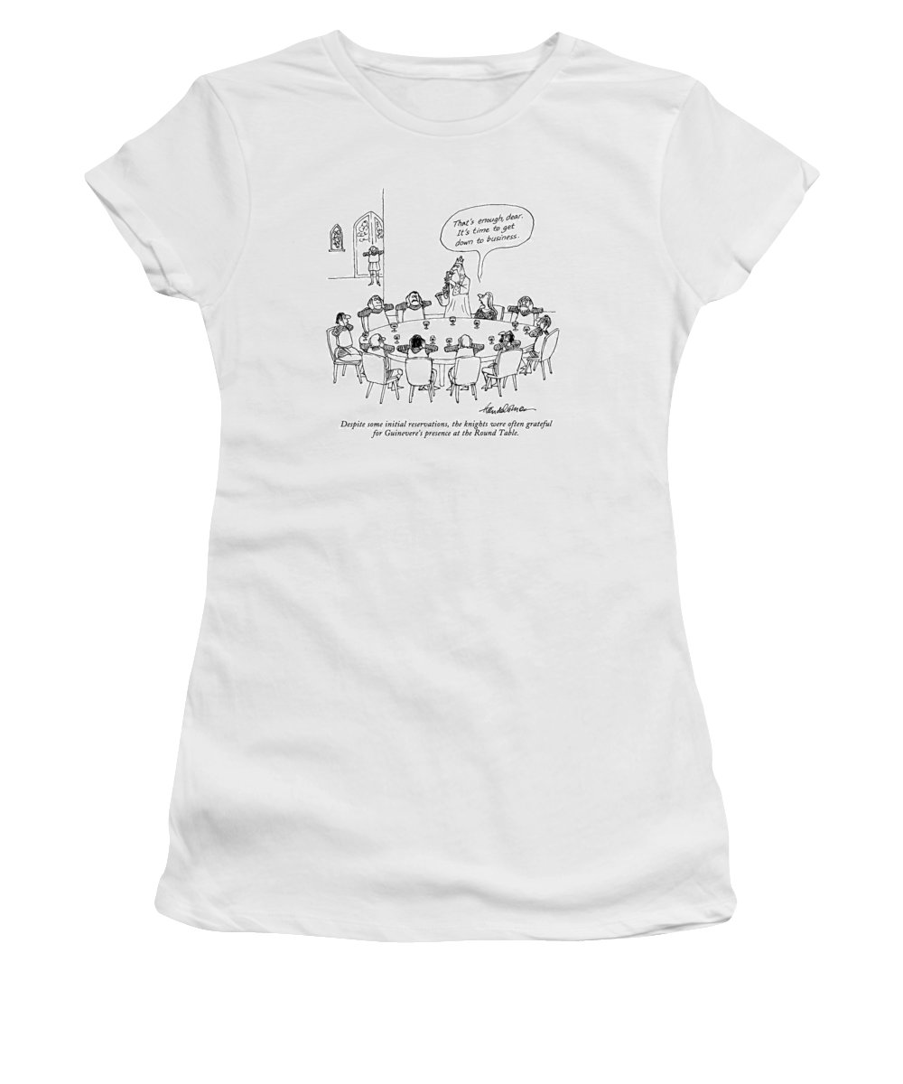 Despite Some Initial Reservations Women's T-Shirt (Athletic Fit) featuring the drawing Despite Some Initial Reservations by J.B. Handelsman