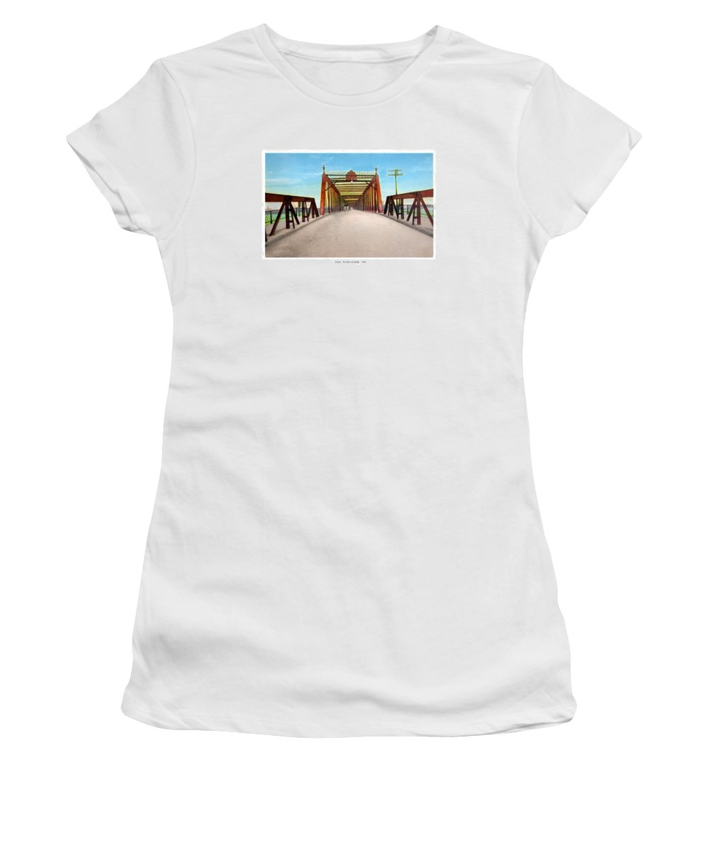 1908 Women's T-Shirt featuring the digital art Detroit - The Belle Isle Bridge - 1908 by John Madison
