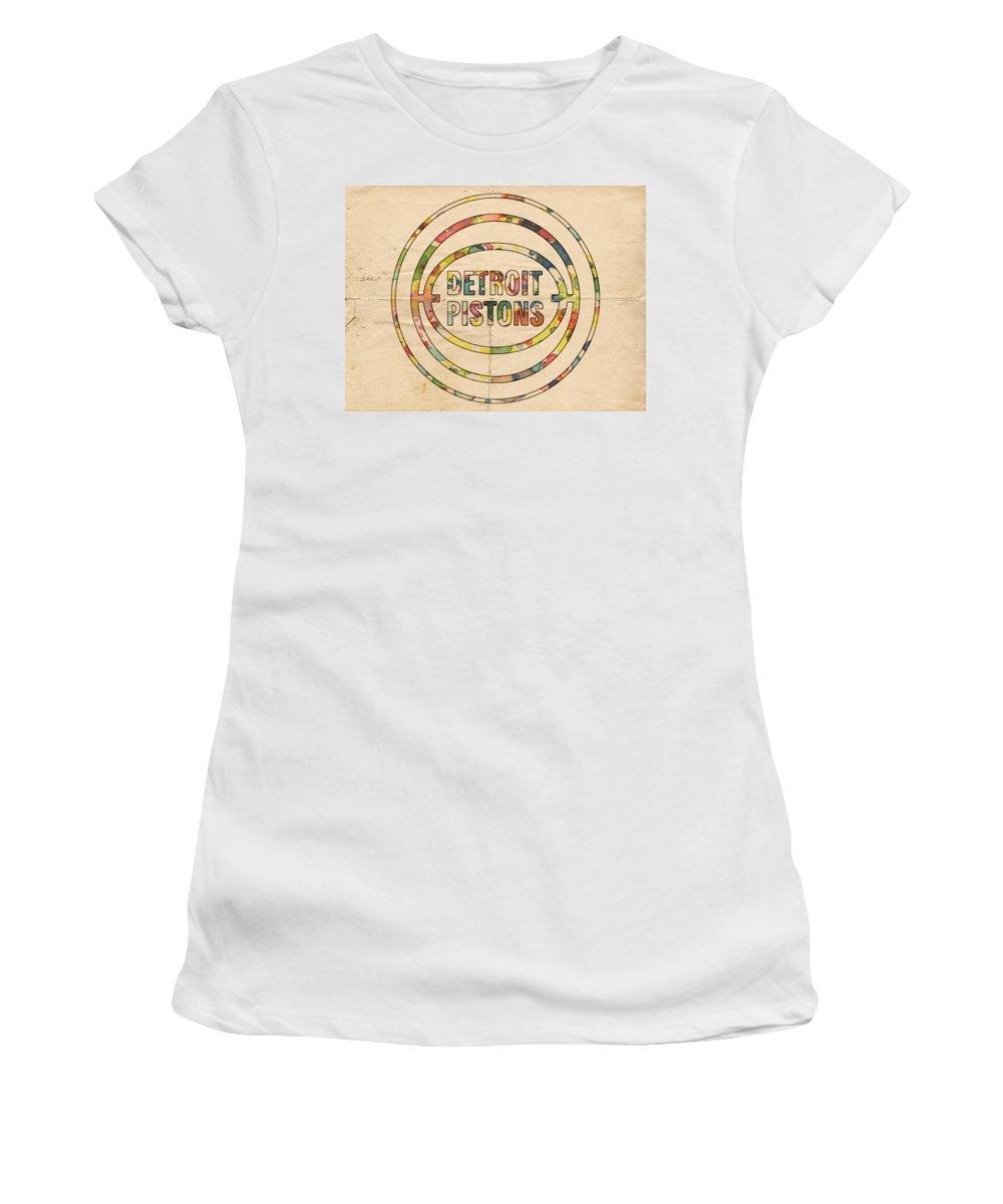 Detroit Pistons Women's T-Shirt featuring the painting Detroit Pistons Vintage Logo by Florian Rodarte