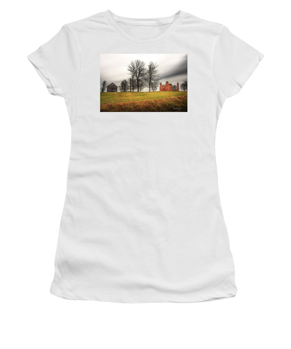 Farm Farmhouse Brick Farmstead Rural Country Scene Scenery Ruined Ruins Landscape Past Decay Crumbling Beauty Clouds Sky Meadow Women's T-Shirt featuring the photograph Devastated Beauty by David Horst