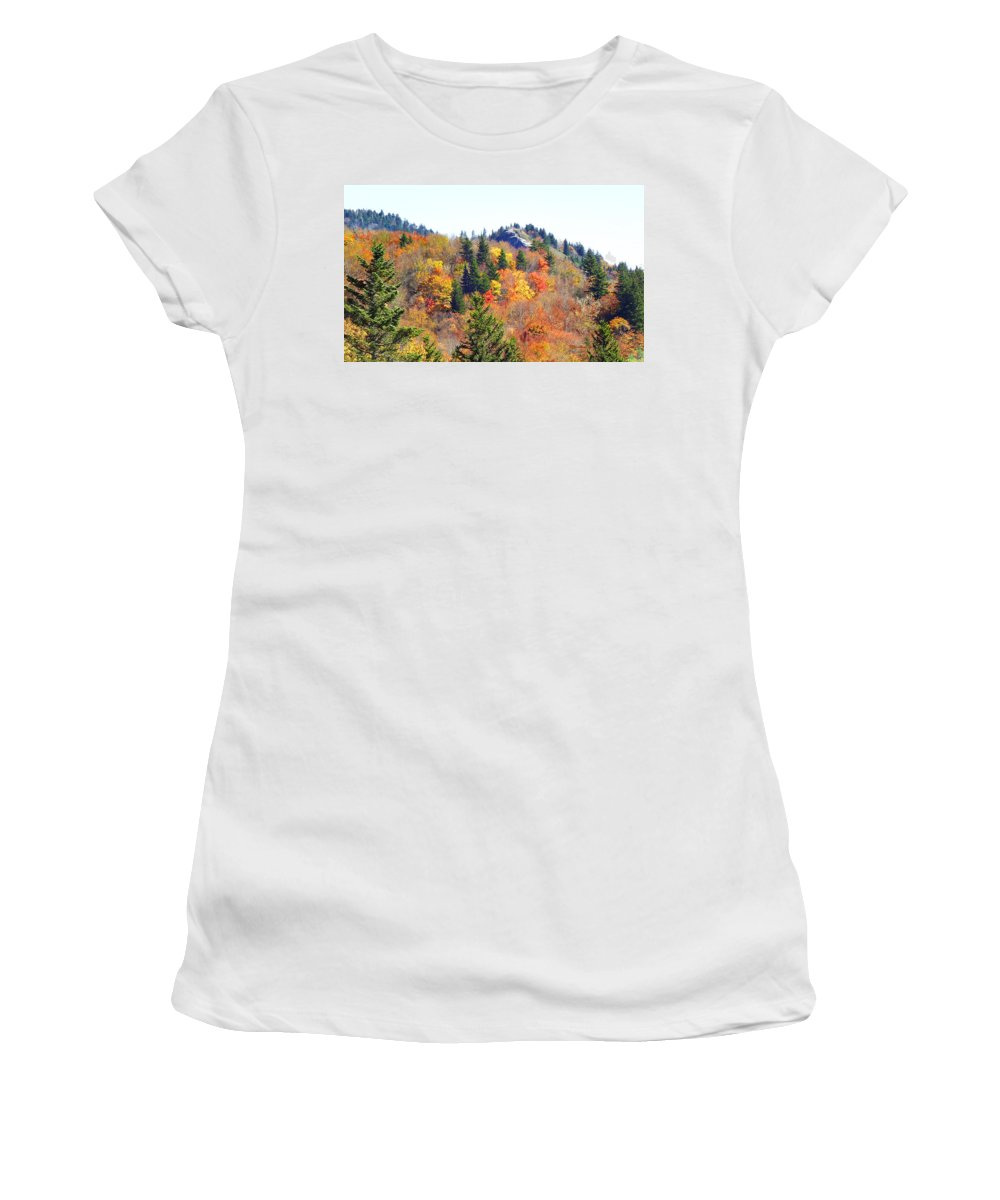 Devil's Courthouse Women's T-Shirt (Athletic Fit) featuring the photograph Devil's Courthouse In The Fall by Duane McCullough